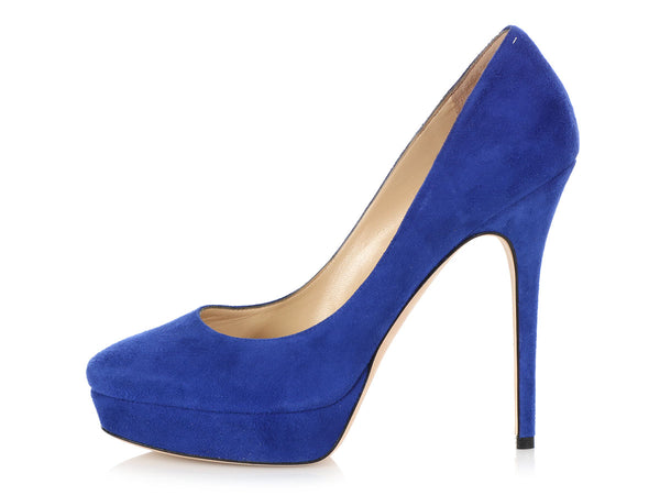 Jimmy Choo Electric Blue Suede Cosmic Platform Pumps