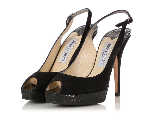 Jimmy Choo Black Suede and Snakeskin Slingbacks