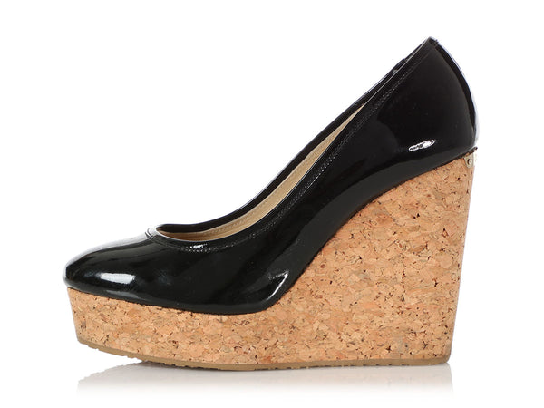 Jimmy Choo Black Patent and Cork Platform Wedge Pumps
