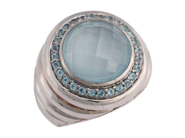 John Hardy Batu Bedeg Sterling Silver and Blue Topaz Ring