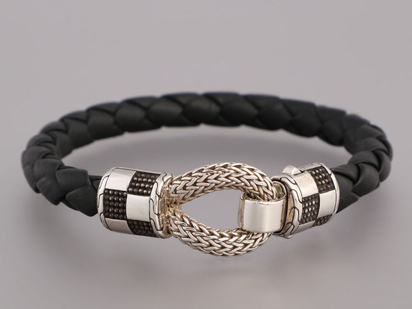 John Hardy Mens Sterling Silver and Black Leather Bracelet