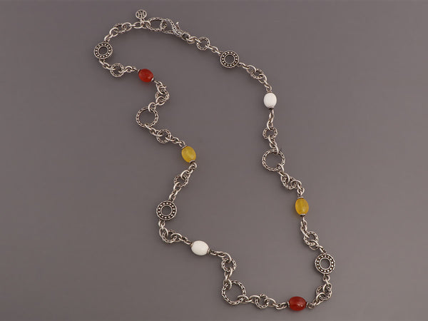 John Hardy Sterling Silver and Multistone Chain Necklace