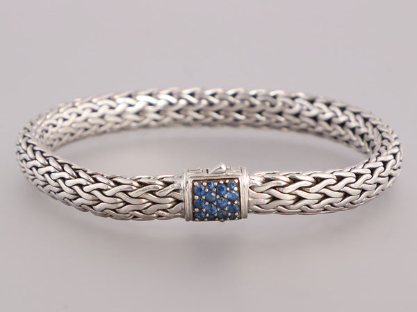 John Hardy Sterling Silver and Sapphire Classic Chain Bracelet