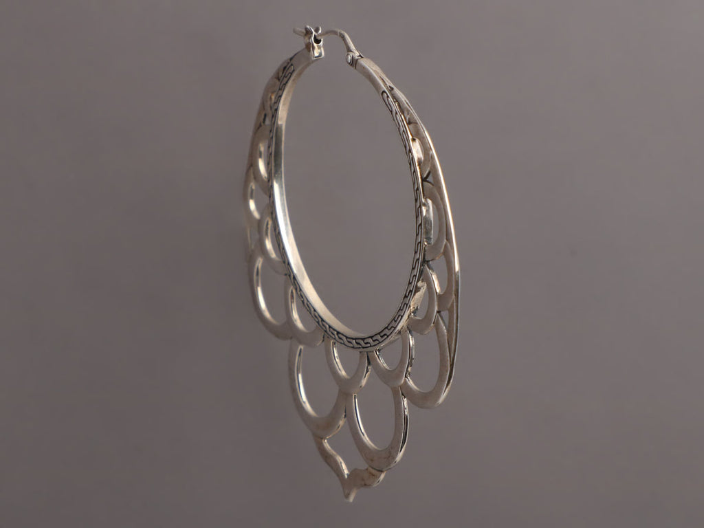 John Hardy Large Sterling Silver Naga Hoop Earrings