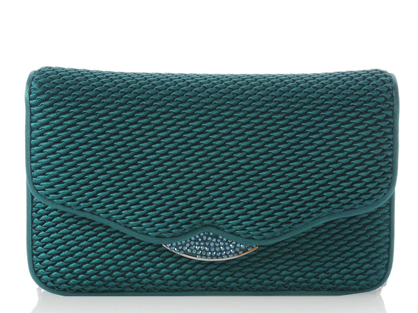 Judith Leiber Teal Satin Evening Bag