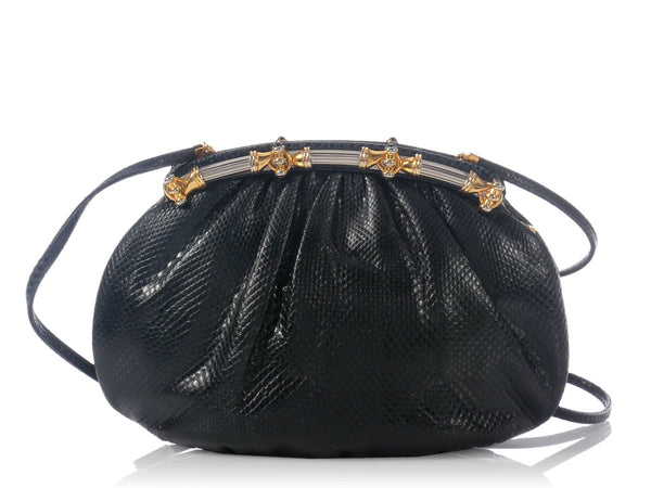 Judith Leiber Black Lizard Evening Bag