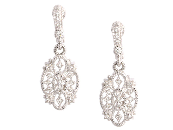 Judith Ripka 18K White Gold Castle Drop Earrings