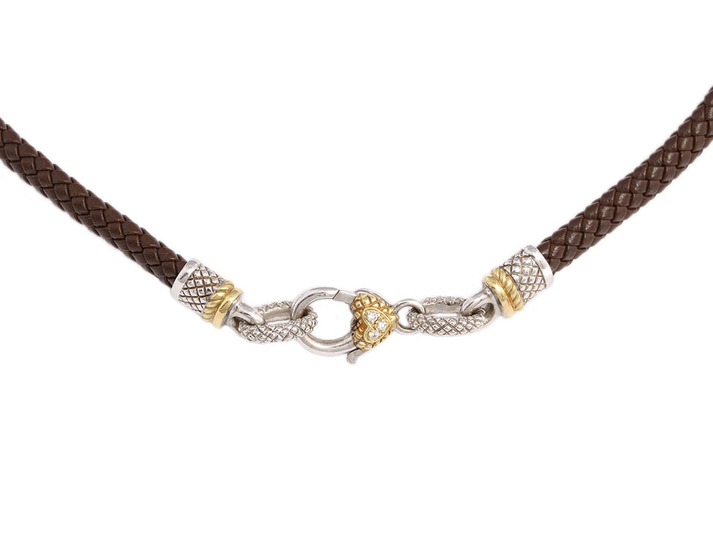 Judith Ripka Sterling and 18K Leather and Diamond Necklace