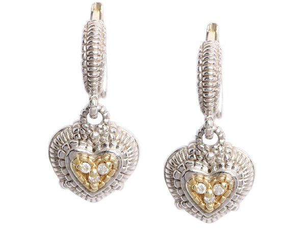 Judith Ripka Sterling Silver and 18K Gold Diamond Heart Earrings