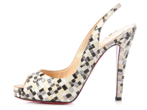 Louboutin Black and White Sequin Peep Toe Slingbacks