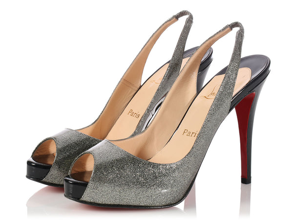 Louboutin Grease and Black Patent N°Prive Slingbacks