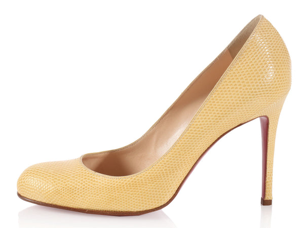 Louboutin Pale Yellow Snakeskin Pumps