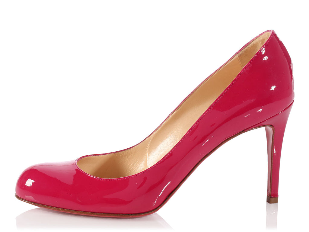 Louboutin Fuchsia Patent Simple Pumps