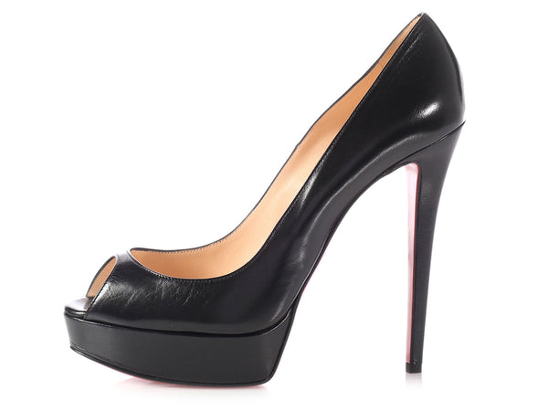 Christian Louboutin Black Lady Peep Pumps