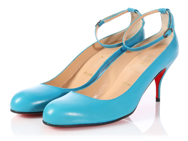 Christian Louboutin Blue Ballerina Ankle Strap Pumps