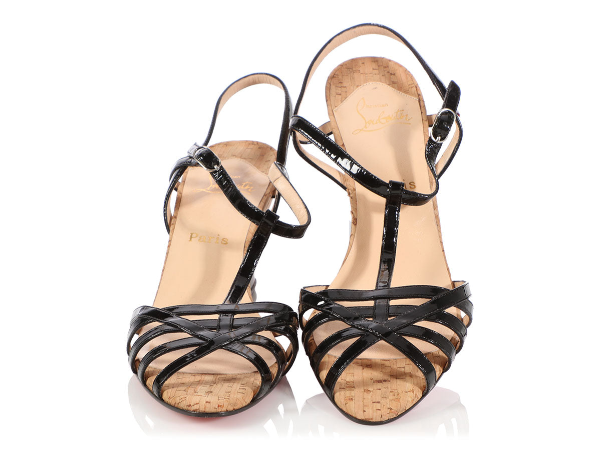 premium selection e7c95 62f48 Christian Louboutin Black Patent and Cork Wedge Sandals