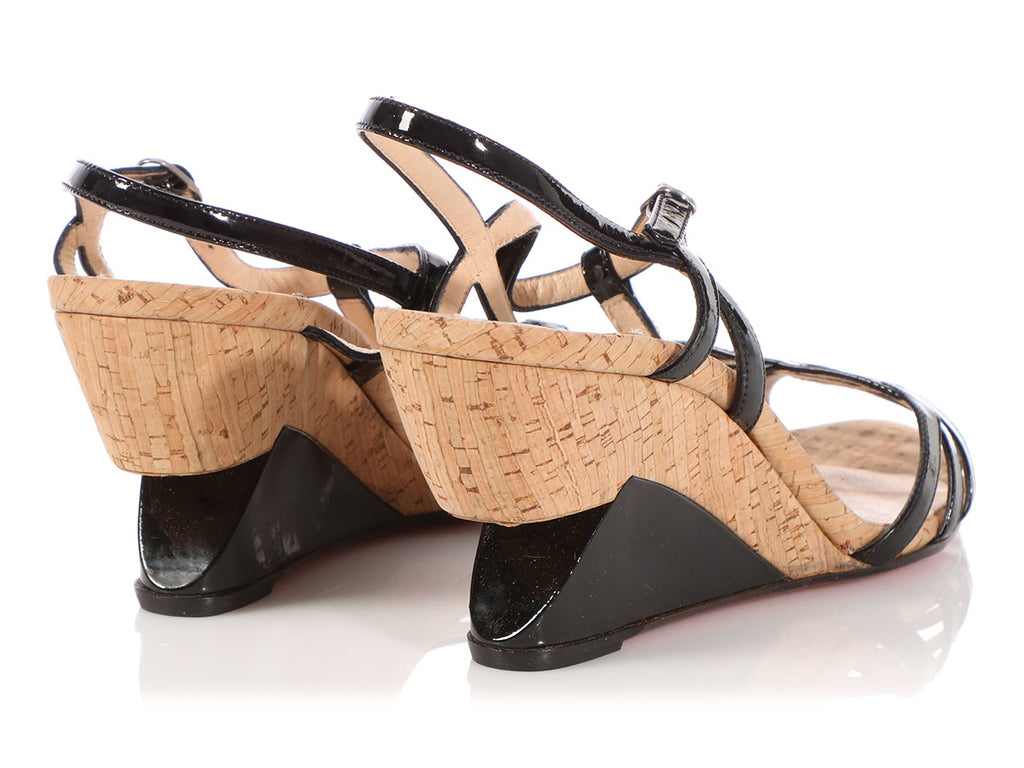 Christian Louboutin Black Patent and Cork Wedge Sandals