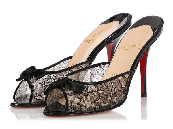 Christian Louboutin Black Patent and Lace Slides