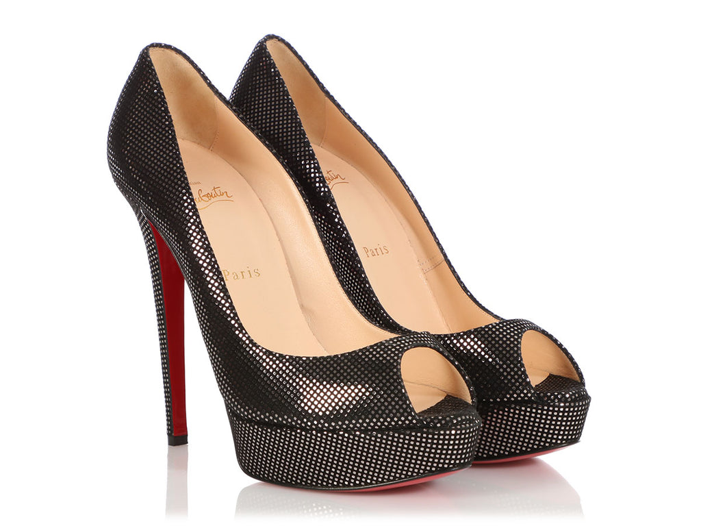 Christian Louboutin Black and Silver Platform Peep-Toe Pumps