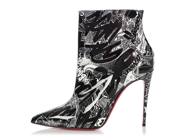 Christian Louboutin Black and White So Kate Graffiti Bootie 100