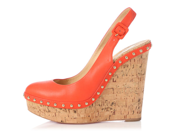 Christian Louboutin Red Leather and Cork Studded Slingback Wedges