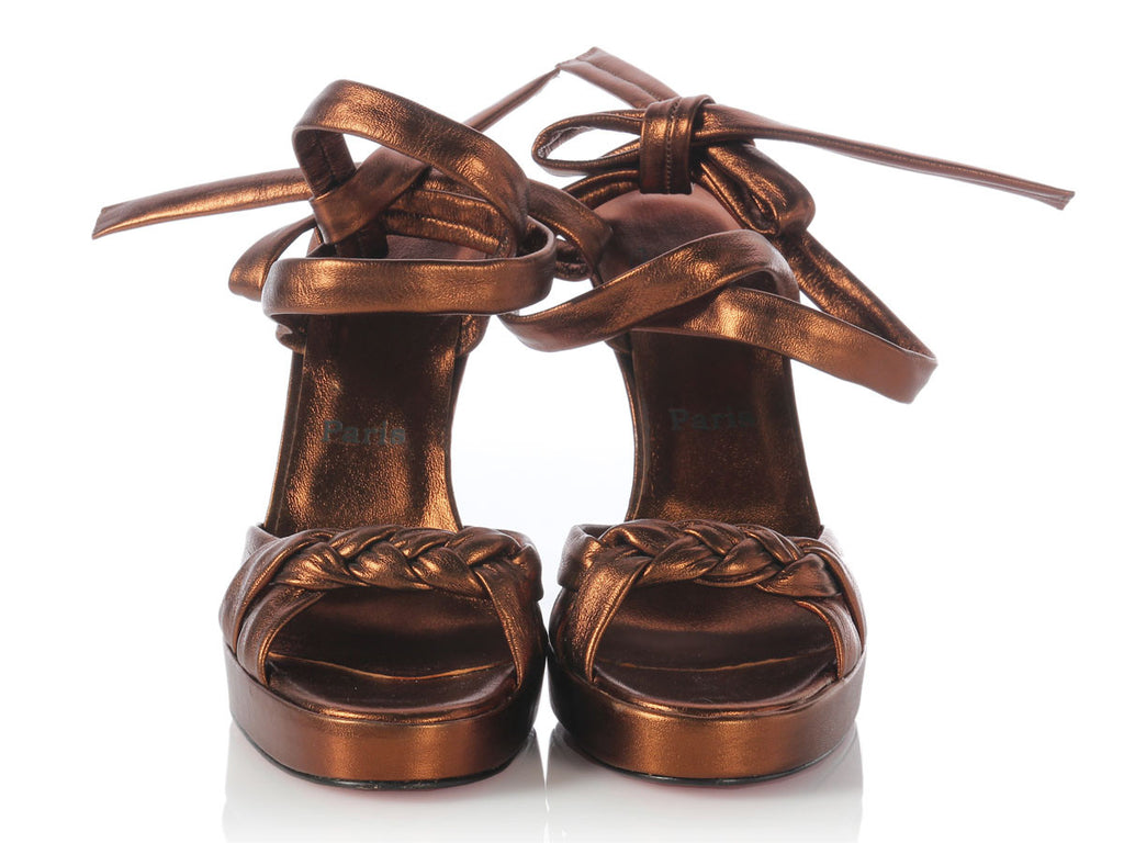 Louboutin Bronze Leather Ankle Wrap Braided Sandals