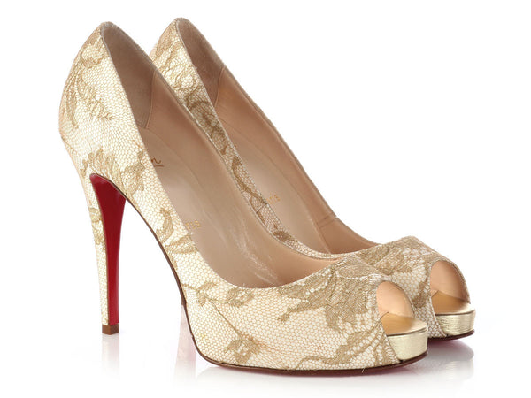 Louboutin Very Prive 120 Satin And Lace Peep Toe Pumps