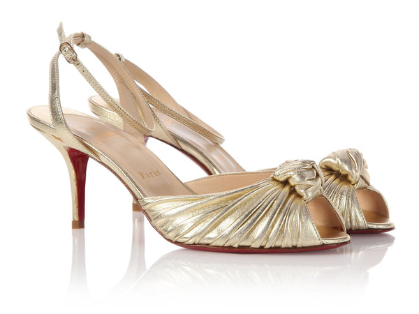 Louboutin Gold Gres Mule 70 Sandals