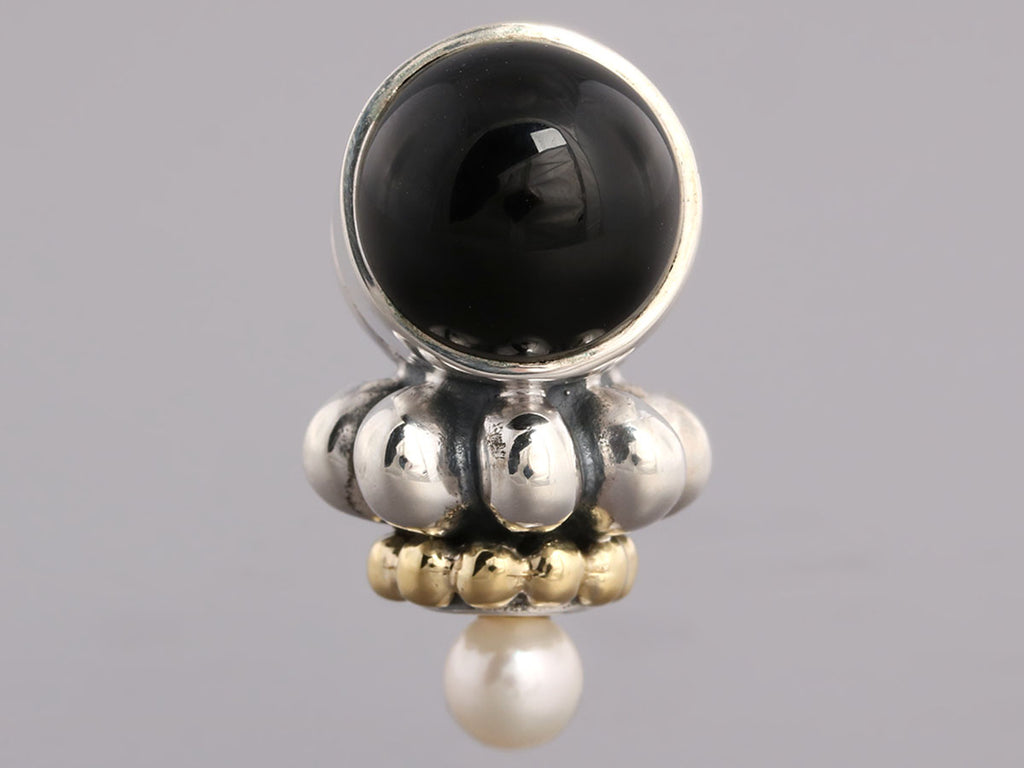 Lagos 18K and Sterling Pearl and Onyx Earrings