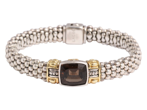 Lagos Sterling and 18K Gold Smoky Quartz Beaded Bracelet