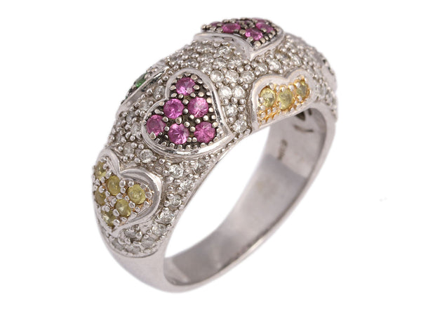 14K White Gold Diamond Multicolor Sapphire Hearts Ring