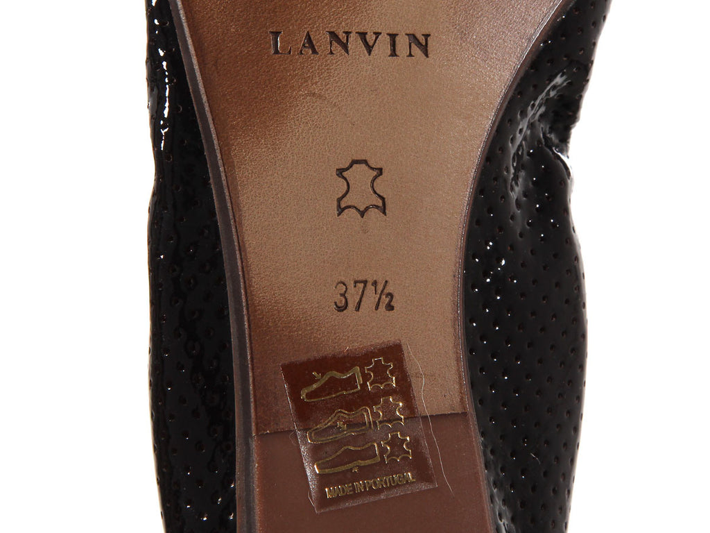 Lanvin Brown Perforated Cap Toe Ballet Flats
