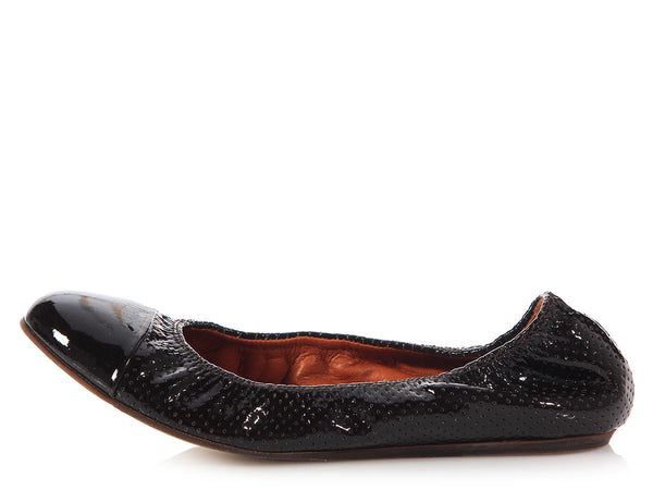 Lanvin Black Perforated Cap Toe Ballet Flats