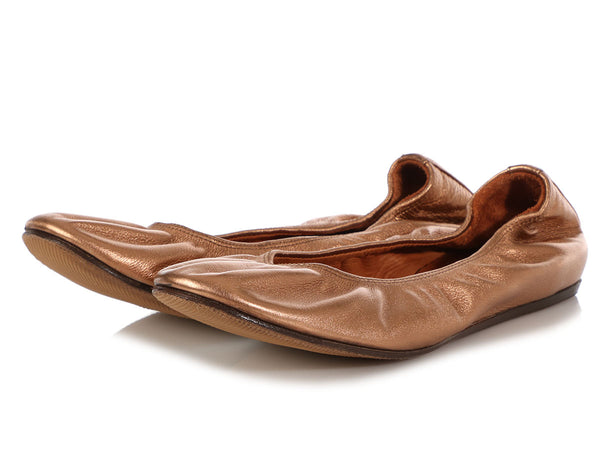 Lanvin Metallic Copper Ballet Flats