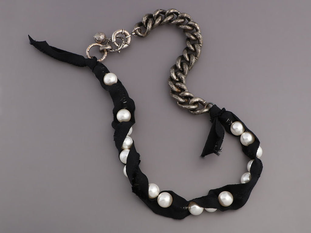 Lanvin Pearl, Black Ribbon, and Chain Necklace
