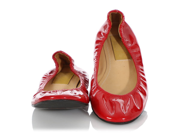 Lanvin Red Patent Leather Flats