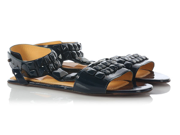 Lanvin Navy Patent Studded Flat Sandals