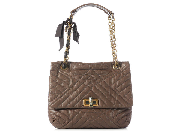 Lanvin Dark Taupe Medium Quilted Happy Bag