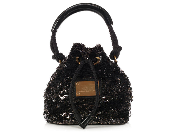 Louis Vuitton Noir Sequin Mini Noe Rococo Bag