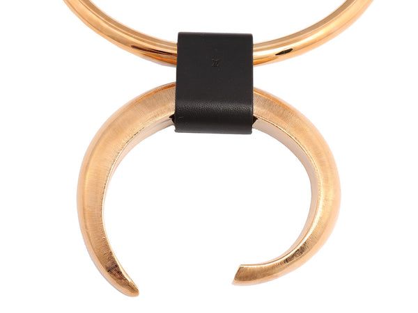Louis Vuitton Gold and Black Leather Collar Necklace