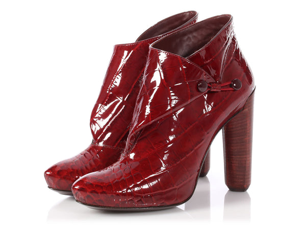 Louis Vuitton Red Patent Croc-Embossed Delft Cornelia Booties