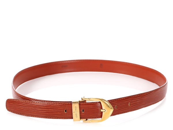 Louis Vuitton Brown Epi Leather Skinny Classique Belt