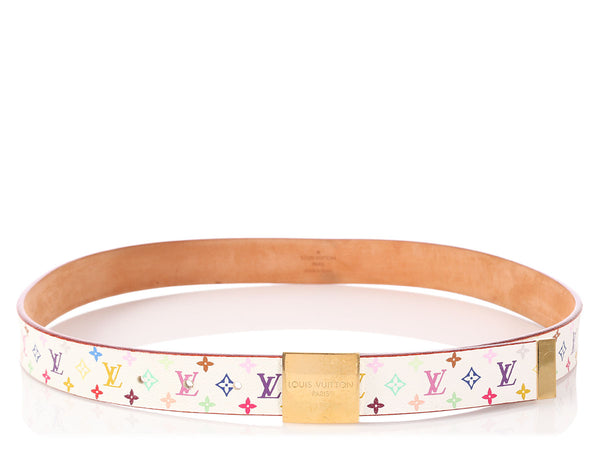 Louis Vuitton White Multicolor Monogram Belt