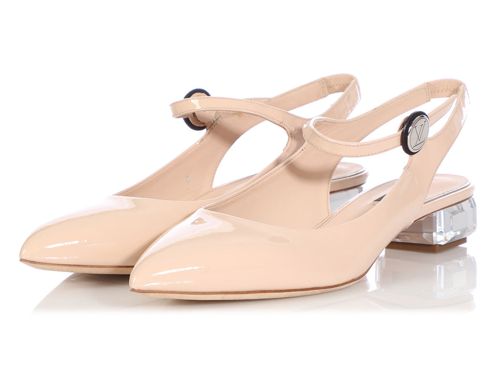 Louis Vuitton Beige Patent Moonlight Slingback Pumps