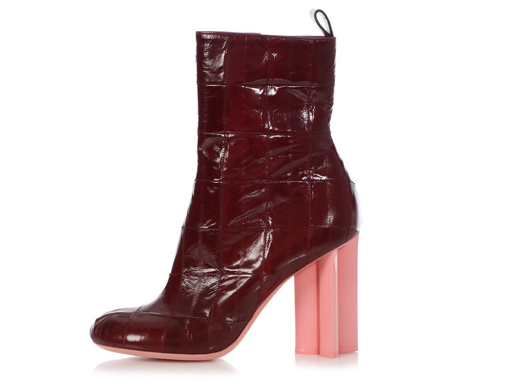 Louis Vuitton Burgundy Eel Skin Patchwork Instinct Ankle Boots