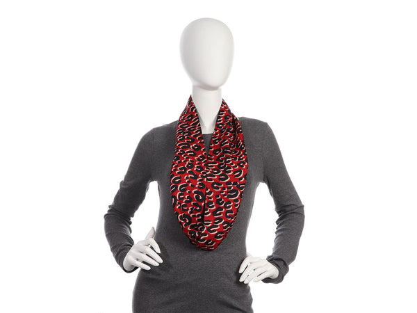Louis Vuitton Red and Navy Leopard Silk Snood Infinity Scarf