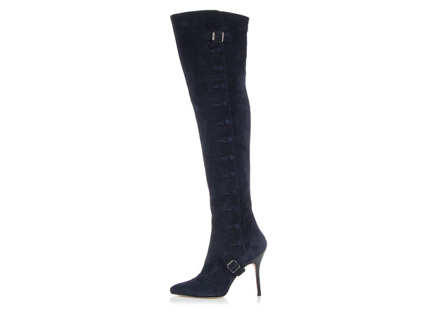 Manolo Blahnik Navy Suede Tall Boots
