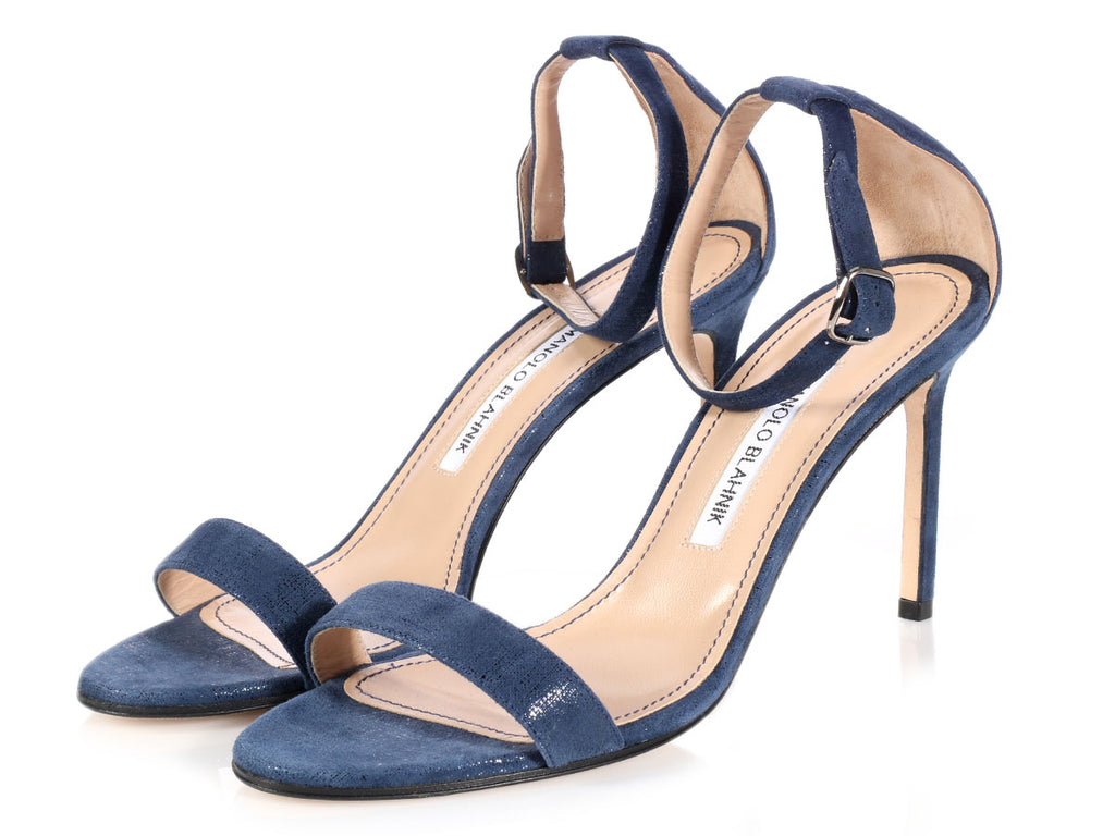 Blahnik Blue Suede Sandals