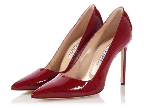 Manolo Blahnik Dark Red Patent BB Pumps