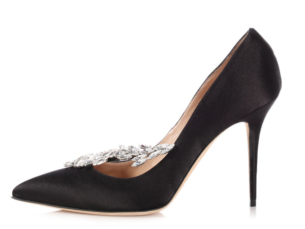 Manolo Blahnik Black Satin Crystal Embellished Nadira Pumps
